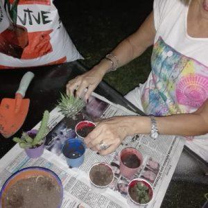 Mujer de 59 años emprendedora haciendo jardineria